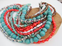 Coral & Teal Chunky Multistrand Necklace