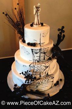 Hand painted pirate ship Halloween wedding cake!