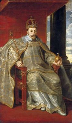King Sigismund III Vasa wearing the Muscovy Crown, Poland (ca 1610; gold, sapphires, emeralds, rubies, pearls, velvet).