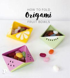 Vik en fruktskål i origami - Pysselbolaget - Enkla roliga pyssel för barn och vuxna