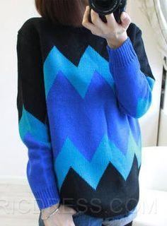 Life Loose Round Neckline Stripe Knitwear Knitwear