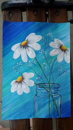 Painting easy diy canvases etsy new ideas Cute Canvas Paintings, Mini Canvas Art, Simple Acrylic Paintings, Diy Canvas, Canvas Crafts, Daisy Painting, Flower Painting Canvas, Painting & Drawing, Easy Flower Painting