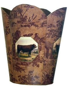 THE WELL APPOINTED HOUSE - Luxuries for the Home - THE WELL APPOINTED HOME Cow and Bull on Brown Toile Decoupage Wastebasket and Optional Tissue Box