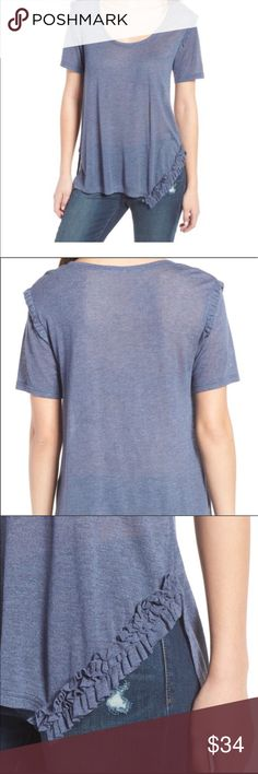 Soft Ruffled Tee Shirt (Nordstrom)NWT Beautiful soft ruffle tee in navy dusk. Perfect to pair with your favorite skinny jeans, shorts or skirt!  •New With Tag •Brand Hinge (Nordstrom) •Loose Fit • Size: Large •Same Or Next Day Shipping Tops Tees - Short Sleeve