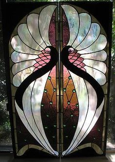 This is a stunning Art Deco Art Nouveau two pane window. Each pane measures This is a stunning Art Deco Art Nouveau two pane window. Each pane measures High by Wide, these measurements are just for the… Continue Reading → Glass Painting Designs, Stained Glass Designs, Stained Glass Projects, Stained Glass Patterns, Stained Glass Art, Mosaic Glass, Fused Glass, Glass Painting Patterns, Glass Beads