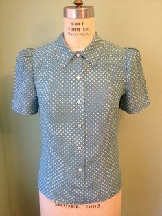 1930s 1940s vintage rayon fabric   puffed sleeve blouse   custom made xs-s-m