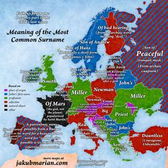 The map that explains the most common surnames in Europe and what Backpacking Europe, European History, World History, Most Common, Historical Maps, Family Genealogy, Vintage Maps, Antique Maps, World Maps