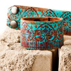 Turquoise Bracelet / Leather Jewelry Cuff - Wristband - Southwestern - Boho Fashion - Fall Trends