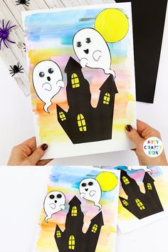 A fun and interactive Halloween craft for kids! To children's delight, these ghosts will bounce and wobble above their haunted house. This easy Halloween craft can be completed with out printable templates. art for kids Bobble Ghost Halloween Craft Halloween Arts And Crafts, Halloween Tags, Easy Christmas Crafts, Halloween Ghosts, Fall Crafts, Halloween Printable, Diy Crafts, Recycled Crafts, Spirit Halloween