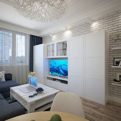 Apartments: White Storage Tv Unit And Brick Wall Design Ideas Plus Grey Corner Sofa Sets In Living Room: Ukraine Apartment Design Decorating with Modern and Contemporary Style
