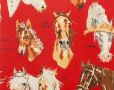Fabric by the Yard--Stable Mates in Red-- Alexander Henry Fabrics