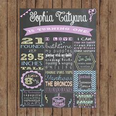 Custom Chalkboard Printable Birthday Sign - Girl First Birthday Poster - Digital Print