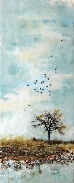 Lone tree by the water in mixed media by Robin Luciano