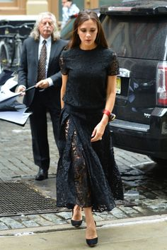 Victoria Beckham In Gothic Lace Is Out And About In New York City. 2015
