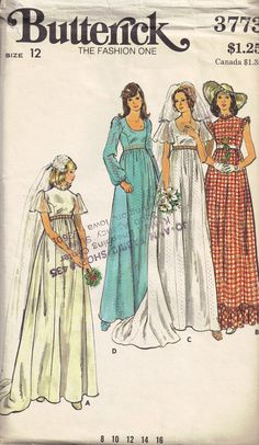 Vintage 70s  Wedding Evening or bridesmaid dress by PeoplePackages, $7.95. I remember the first Seventeen magazine mom bought for me. I was about 11 and she liked a red/white gingham check wedding featured in it!