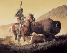 Daryl Poulin - The Chase - Artist Native American Paintings, Native American Symbols, Native American Artists, Native American Indians, Western Artists, Indian Pictures, Art Pictures, Photos, American Frontier