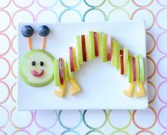 Fruity Caterpillar Snack   Food   CBC Parents Food Art For Kids, Cooking With Kids, Fruit Art Kids, Cute Fruit, Cute Food, Deco Fruit, Fruits Decoration, Childrens Meals, Creative Food Art
