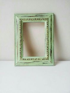 8 x 10 yellow frame solid wood rustic shabby chic distressed