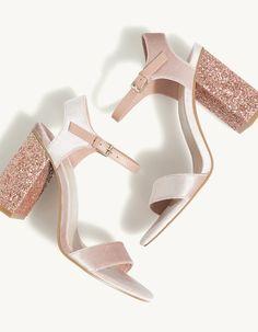 Sandalia terciopelo tacón glitter 29,95 € REF. 12845241-V2017