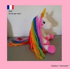 Chat Crochet, Crochet Amigurumi, Unicorn Pattern, Dinosaur Stuffed Animal, Crochet Necklace, Kawaii, Crochet Patterns, Creations, Etsy