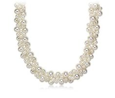 LOVE THIS NECKLACE!!!!Freshwater Cultured Pearl Woven Necklace with 14k White Gold