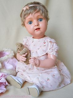 Large antique Art Nouveau celluloid sitting baby doll 1908 to 1919 by Bruno Schmidt Germany, lovely shabby old doll with paperweight eyes    Here