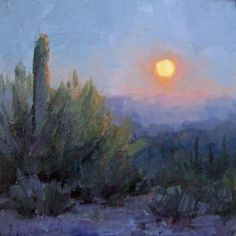 Desert Moon Arizona landscape painting, painting by artist Becky Joy