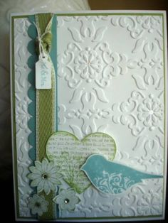 Cute card with embossing,heart,bird