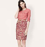 "Paisley Pencil Skirt - A lush paisley print pops this sharp pencil. Back zip. Back vent. 22 1/2"" long."