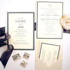 Elegant Monogrammed Slate Grey, Eggplant, and Off White Wedding Invitation #losangeleswedding honey-paper.com