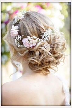 Wedding Flowers, Wavy Curly Updo Wedding Hairstyle With Flower Crown: wedding hairstyles with flowers