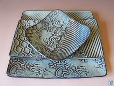 Pottery Plate - Dinner plate - 3 piece place setting - Square Plates - Pottery Dishes - Charger - Platter - Sushi Set - MADE TO ORDER