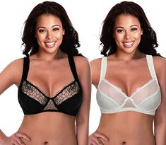 941ebcd31f5e0 Curve Muse Plus Size Minimizer Underwire Bra with Lace Stripe Embroidery-2  3PK- Black
