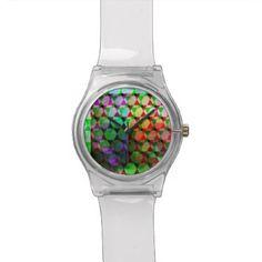 Bright Hex Graphic Design Wrist Watch - patterns pattern special unique design gift idea diy