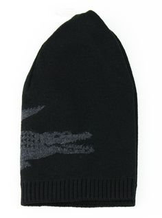 5a38cd6f8 Lacoste Men s Reversible Croc Extra Fine Merino Wool Beanie Black TU ONE  RB3531 – JaneMarketplace