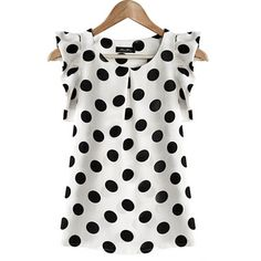 2017 Newest Summer Style Women Ladies Chiffon Puffed Short Sleeve  Dot Print Top Blouse