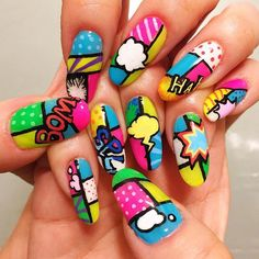 nail art ネイル Comic Styles, Cool Nail Art, Nails Inspiration, Fun Nails, Painted Rocks, Nail Art Designs, Instagram Posts, Templates, Nail Art