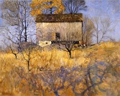 View of the Barn Behind John Andress Farm, Chadds Ford, PA by Newell Convers Wyeth - oil on canvas Landscape Art, Landscape Paintings, Adelia Prado, Nc Wyeth, Andrew Wyeth, Jamie Wyeth, Mellow Yellow, American Artists, Painting Inspiration