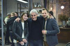Patrick Henri Freche et les blogueurs Emilie (The Brunette) et Timotei (Le fumoir de la mode) au Vernissage de Edouard Prulhière, boutique Vinaigrier, Paris.
