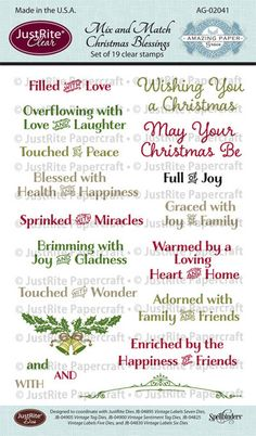 JustRite Stamps: Mix and Match Christmas Blessings Clear Stamps (Amazing Paper Grace designer)
