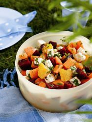 Moroccan Salad with goat cheese, beets, and oranges