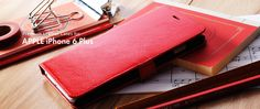 Red Apple iPhone 6 Plus Leather Side Flip Phone Case. Limited Edition.