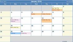 WinCalendar - month/date specific holidays/observances, as well as items (fruit, flower, birthstone, etc.) - http://www.wincalendar.com/January-Calendar/January-2016-Calendar.html