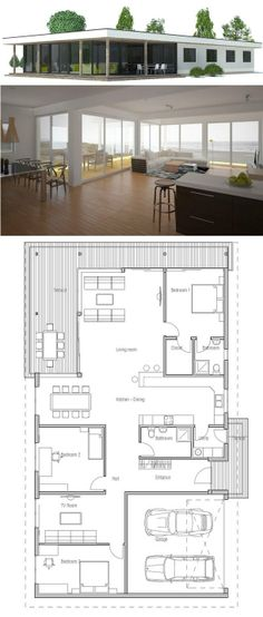 Moder House with simple lines and large windows. Floor plans from ConceptHome.com