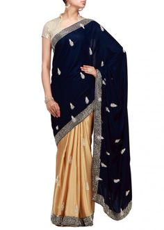 Blue and gold foil half half saree with sequence and stone work