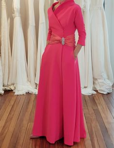 In Latino communities a quinceanera is really a r… Mother Of Groom Outfits, Mother Of The Bride, Event Dresses, Nice Dresses, Formal Dresses, Pink Fashion, Fashion Dresses, Drape Gowns, Special Occasion Outfits