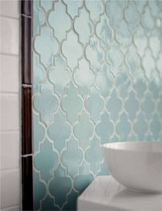 Moroccan inspired bathroom tiling. Love this light color; perfect for a soothing atmosphere. #Moroccan #BathroomTiles.
