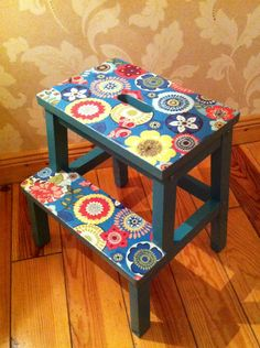 Beckvam Ikea stool.  My first attempt at decoupage  :)