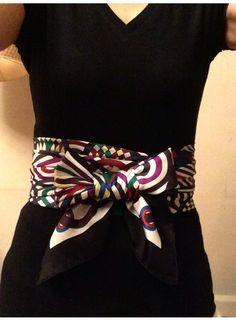 Hermes scarf as obi belt | Gap tee | Lanvin skirt