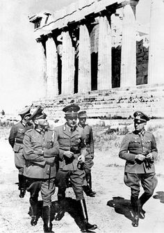 April 27, 1941: The German army enters the Greek capital, signaling the end of Greek resistance. All mainland Greece and all the Greek Aegean islands except Crete are under German occupation by May 11. In fending off the Axis invaders, the Greeks suffer the loss of 15,700 men. Greece will not be liberated until 1944, by British troops from the Mediterranean theater. (history.com) Photo:  Second World War. The marshal von Brauchitsch (1881-1948) and the Dr Wrede visiting the Acropolis of…